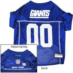 New York Giants NFL Dog Jersey - Small  15% Discount - Use code DOGGIE at Checkout   http://www.gingersdoggieheaven.com #NewYorkGiants 15% Discount - Use code DOGGIE at Checkout
