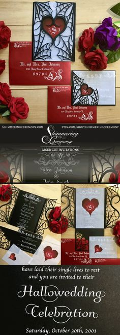 Loving the monogramed bleeding heart addition to our gothic spider web wedding invitation. #gothic #wedding #invitations #halloween #spooky #bleedingheart #monogramed #shimmeringceremony #spider #webs #allhallowseve #lasercut #gatefold #invite #heart #skulls #laidtheirsinglelivestorest