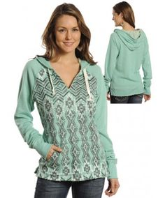 Rock & Roll Cowgirl Aztec Print Mint Pullover Hoodie