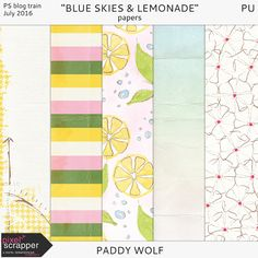 Quality DigiScrap Freebies: Blue Skies & Lemonade mini kit freebie from Paddy Wolf