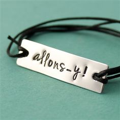 Allons-y! Cotton Cord Bracelet - Spiffing Jewelry - Doctor Who - Tenth Doctor if only it said Geronimo Fandom Jewelry, Geek Jewelry, Mom Jewelry, Metal Jewelry, Bridal Jewelry, Jewelry Gifts, Jewlery, Doctor Who Jewelry, Nerd Chic