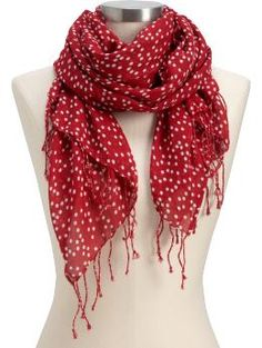 Red and white polka dot scarf Old Navy Scarves, Red Scarves, Moda Outfits, Cute Outfits, Polka Dot Scarf, Polka Dots, Scarf Styles, Passion For Fashion, What To Wear