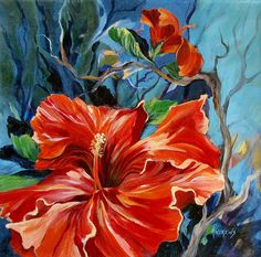 A red hibiscus in full bloom, an acrylic on gallery wrap canvas.