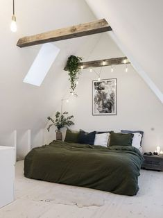 Elegant Attic Bedroom Design And Decoration Ideas - Think about using a decorating theme that you will like, but also one which can help to make your room appear larger. Modern Bedroom Decor, Trendy Bedroom, Attic Bedroom Designs, Bedroom Ideas, Attic Renovation, Bedroom Green, Master Bedroom, Cozy Room, Small Apartments