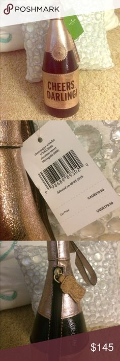 BNWT Kate Spade Champagne Bottle wristlet BNWT champagne bottle wristlet. Big enough for your phone and some essentials. kate spade Bags Clutches & Wristlets