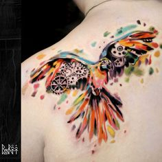 bartt-tattoo.com #watercolour #tattoo #parrot #parrottattoo #london #ink #bartt #colorful tattoo