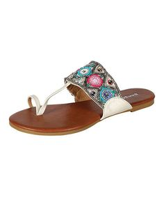 Take a look at the Bamboo White & Blue Bead Sandal on #zulily today!