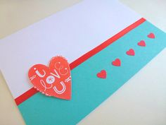 """Wedding Card, """"i lovE U"""" with Hearts - Teal, Red, White"""
