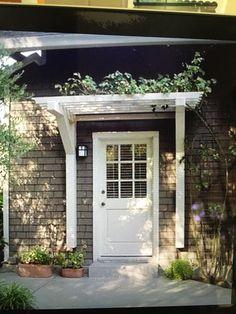 Simple Landscape Design Front Of House Garage Doors Ideas Front Door Awning, Front Door Entrance, Exterior Front Doors, Front Entrances, Door Overhang, Front Walkway, Front Entry, Front Porch, Front Door Design