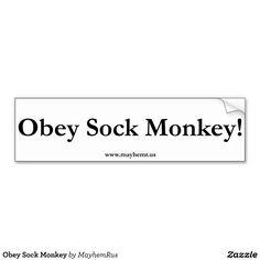 Obey Sock Monkey Car Bumper Sticker