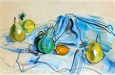 Raoul DUFY (1877-1953) NATURE MORTE AUX POIRES ET AUX CITRONS, 1946 Aquarelle sur papier