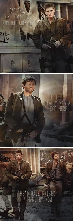 Dean + Castiel: If there really was a god here he'd have raised a hand by now. #spn