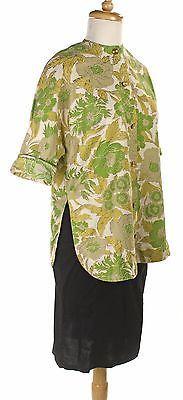 Vintage-Button-Up-Blouse-50s-Cotton-Print-Side-Vents-Size-XL-Hey-Viv