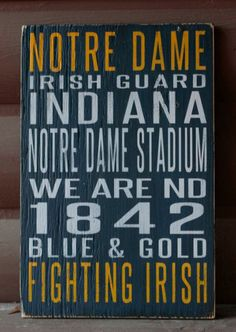University of Notre Dame Distressed Decorative Sign by SportsSigns, $65.00