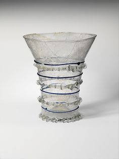 Beaker with Cobalt Trailing, Date: 1275–1325 Culture: Central European Medium: Clear glass, cobalt trails Dimensions: Overall: 5 1/4 x 4 1/2 in. (13.3 x 11.5 cm) at foot: 2 3/4 in. (7 cm)