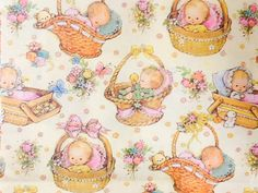 Cute Vintage Wrapping Paper, Baby Gift Wrapping, Baby Shower Wrap, Unused, Papercrafting and Scrapbooking Supply, 01047