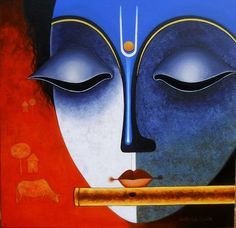 """New artwork added on IndianArtCollectors.com! """"Krishna_12"""" by Santosh Chattopadhyay Acrylic On Canvas, Size(inches): 24X24 See more artworks by Santosh Chattopadhyay at: http://www.indianartcollectors.com/artist/SantoshChattopadhyay"""