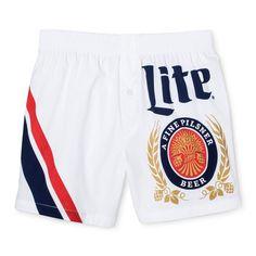 Men's Miller Lite Woven Boxer Shorts White/Navy Medium 1 Pk - Americana Underwear, Blue White