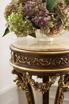 luxury furniture   gorgeous details of Regency style hand-carved wood pedestal