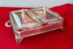 Double Loaf Pan Buffet Stand with Lids   Ornate by PearlsParlor