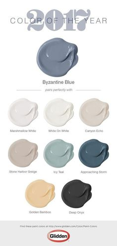 The Glidden® 2017 Color of the Year is Byzantine Blue! Chosen for its versatility and gender neutral properties, this bluish-purple paint color works well in any room of your home or in an exterior setting. Byzantine Blue is interesting because when pair Purple Paint Colors, Paint Colors For Home, House Colors, Glidden Paint Colors, Paint Colours 2017, Furniture Paint Colors, Blue Grey Paint Color, Living Room Paint Colors, Grey Living Room With Color