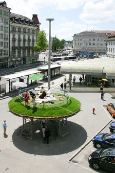 Flashback: 2008 Fribourg (Switzerland). The Island by Christian Hasucha. To chill out in the midst of cityscape. The installation was part of Festival Belluard Bollwerk International.