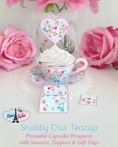 1/2 OFF COUPON CODE Tea Cups Cupcake Wrappers 3D by DetourDuJour