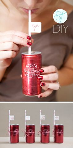 """""""Mini Sofia Coppola champagne cans. These are so perfect for a picnic, and they even come with a cute little pink straw.""""   Also, here's a great idea using them to """"guide your guests to their seats with this adorable favor"""""""
