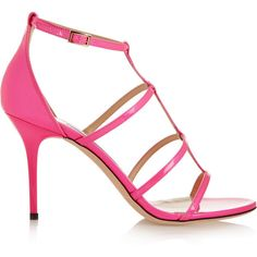 Jimmy Choo Dory neon patent-leather sandals ($735) ❤ liked on Polyvore