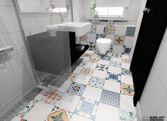 Propunere de amenajare pentru baie cu gresie patchwork in stil marocan gama Cordoba Mix. #gresiepatchwork #gresiestilmarocan #gresiecolorata #amenajarebaie #BlissArt #amenajariinterioare