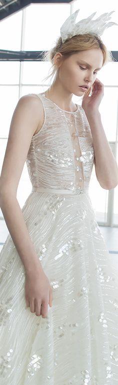 mira zwilinger 2016 stardust bridal kira sleeveless stunning beaded wedding dress open back illusion neckline full view #weddingdresses #weddingdress