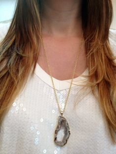 Gold Dipped Geode Druzy Necklace by elladolce on Etsy, $30.00