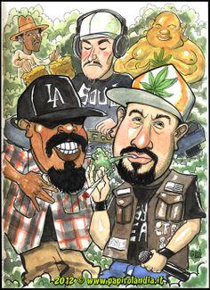 caricatura Cypress Hill  - acquerello - papirolandia 2012  > caricature papiri di laurea  > caricature su commissione Arte Hip Hop, Hip Hop Art, Art Of Noise, Nice Dream, Cypress Hill, Celebrity Caricatures, Rap Music, Street Art Graffiti, Chicano