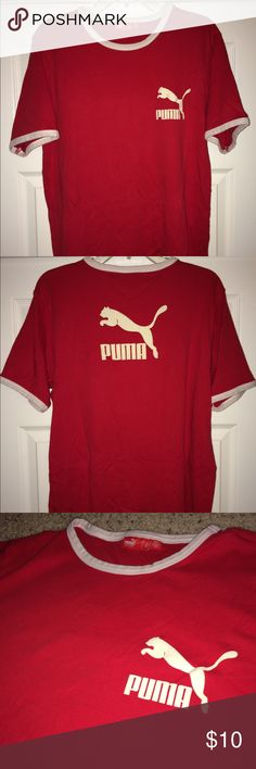"Vintage Puma red tee shirt Puma red shirt....size: Large...not so sure this is a men's or women's shirt...armpit to armpit 12""...top to bottom 25""....Good used condition...Please see all photos and read description before purchase! Puma Shirts Tees - Short Sleeve"