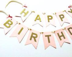 Banner de feliz cumpleaños rosa glitter oro brillante cumpleaños, 1er cumpleaños, banner personalizado, bandera del partido, feliz cumpleaños,