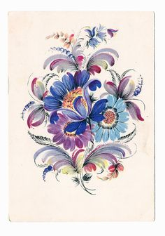 Vintage Paper Ephemera Postcard Art Perfect condition, blue flowers in folk style.  Artist Klimenko V.  Printed in 1955 in USSR.  Perfect for