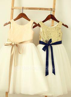 A-Line/Princess Scoop Neck Knee-length Sash Sequined Sleeveless Flower Girl Dress Flower Girl Dress