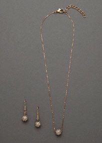 """This beautiful pave embellished necklace and earring set is stunning! It offers an updated look to a classic style.  The pave ball drop earrings complement the pave ball pendant perfectly, giving just the right amount of sparkle.  This set is sure to give you that subtle, yet special look you were going for.  Features hook ball earrings and a simple chain necklace with lobster claw clasp.  Necklace measures 16""""longwith a3"""" extender.  Imported."""