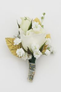 Hall's Flower Shop and Garden Center - White and Gold Sweetheart Rose Boutonniere, $14.99 (http://www.hallsflowershop.com/white-and-gold-sweetheart-rose-boutonniere/)
