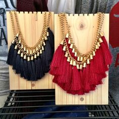 NEW tassel necklaces in-store! We have navy blue, red, and black! $22! call/text for details or to order! 479.445.5964 #RiffraffLove #RiffraffDallas