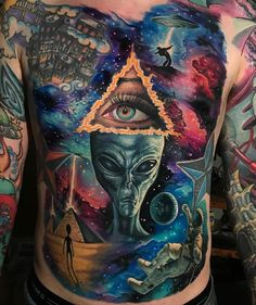 A compelling guide to color tattoos: the pros and cons of color tattoos, color tattoo styles and photo ideas. Neue Tattoos, 3d Tattoos, Badass Tattoos, Body Art Tattoos, Tattoos For Guys, Tattoos For Women, Space Tattoos, Circle Tattoos, Fish Tattoos