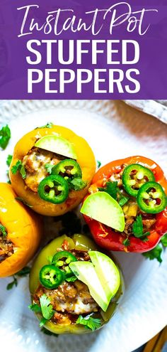 These Instant Pot Stuffed Peppers with ground beef are a delicious, low-carb option for busy weeknights with a Mexican twist. This recipe minimizes clean up too! #stuffedpeppers #instantpot Healthy Low Carb Recipes, Low Carb Dinner Recipes, Healthy Eating Tips, Instapot Stuffed Peppers, Cooker Recipes, Beef Recipes, Instant Pot, Primal Blueprint Recipes, Clean Eating Dinner