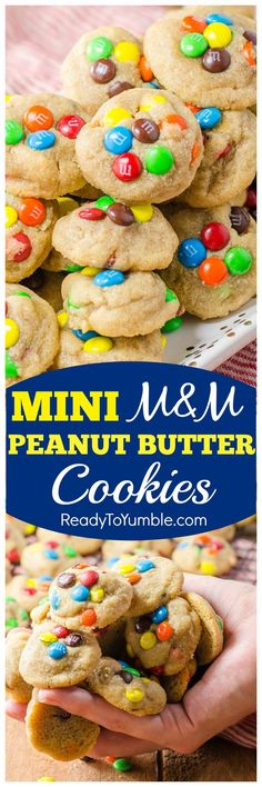 Mini M&M Peanut Butter Cookies are perfectly portioned - and perfectly delicious! - thick and chewy bites of heaven.