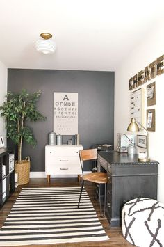 Industrial Farmhouse Office Reveal A modern industrial farmhouse office decorated completely on the cheap! A modern industrial farmhouse office decorated completely on the cheap! Home Office Design, Home Office Decor, Office Furniture, House Design, Office Designs, Office Rug, Workspace Design, Design Homes, Furniture Ideas