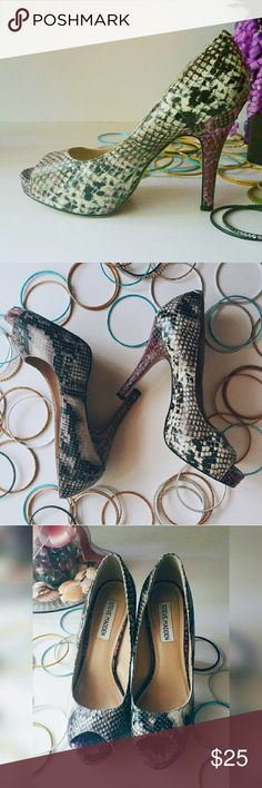 """GIRLY GIRL SALE Steve Madden Python Skin Pumps Ready to turn heads? Then go ahead and snatch these sweet little 4"""" high heels up and get ready to do just that. Not available in stores! Feel free to make a reasonable offer. Steve Madden Shoes Heels"""