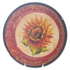 """Set of four stoneware pasta bowls with hand-painted sunflower motifs.       Product: Set of 4 pasta bowls  Construction Material: Stoneware  Color: Multi   Features: Hand-painted   Dimensions: 2"""" H x 9.5"""" Diameter each    Cleaning and Care: Dishwasher and microwave safe"""