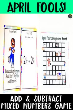 This 4th grade math center is perfect for the month of April! Fourth grade students will enjoy this April Fool's Day game that helps them practice finding adding and subtracting mixed numbers. April Fools math makes learning in the classroom a lot more fun! This is an April Fool's game that helps students practice adding and subtracting fractions. Great practice in math for mixed numbers. 4th Grade Activities, 4th Grade Math, Third Grade, Adding And Subtracting Fractions, Teaching Math, Teaching Ideas, April Fools Day, Math Concepts, Elementary Math
