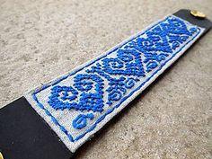 Náramky - Náramok s výšivkou - modrou - 5888928_