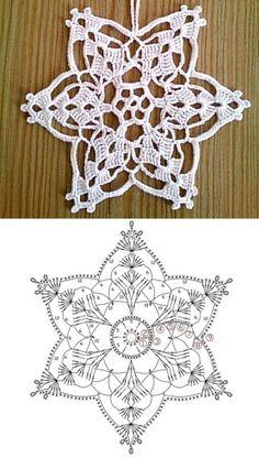 Crochet Snowflake Pattern, Crochet Snowflakes, Knitting Patterns, Crochet Patterns, Crochet Dreamcatcher, Diagram Chart, Dream Catcher, Christmas Diy, Crochet Necklace