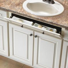 Knape & Vogt W x Pull Down Plastic Tip-out Tray at Lowe's. The 11 in. white polymer sink front tray with hinges, from Real Solutions by Knape & Vogt, turns a false-front panel into usable space (false-front panel Kitchen Cabinet Organization, Storage Cabinets, Kitchen Storage, Cabinet Organizers, Wall Storage, Cabinet Ideas, Types Of Kitchen Cabinets, Custom Kitchen Cabinets, Kitchen Cabinet Styles